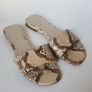 Zara Woman Slide on Sandals snake print. Size 39